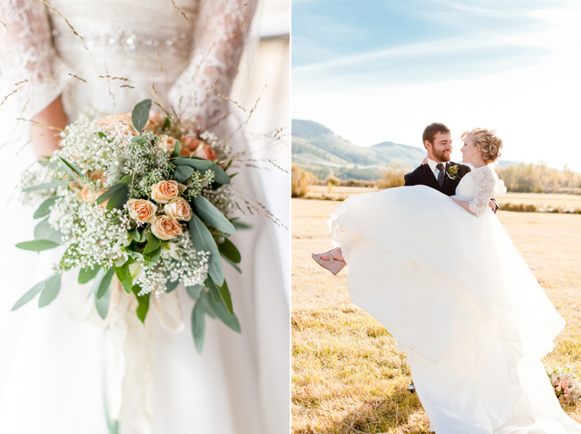 Groom Carrying Bride and Peach and babys breath Floral Bouquet
