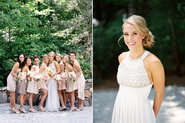 Bride with Bridesmaids, taupe colored dresses