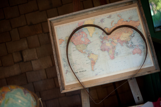 Metal heart and world map