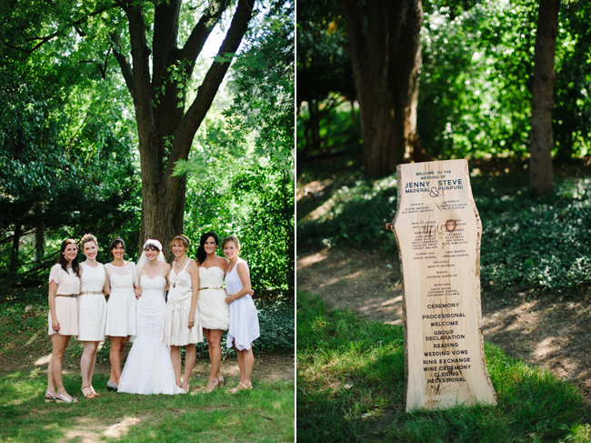 Bride and Brides Maids, wooden ceremony sign