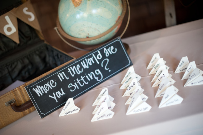 Paper airplanes place card, wedding reception