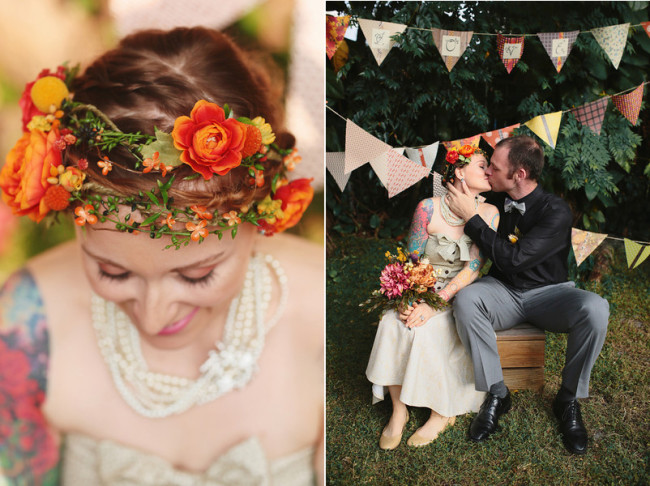 Flower Crown and Bunting Decor