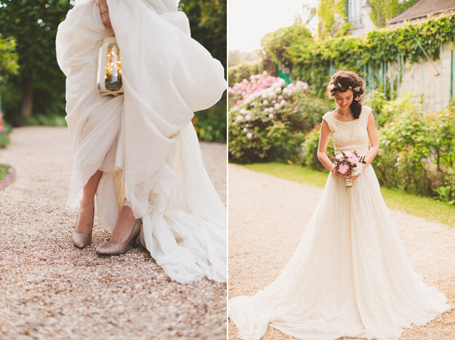 Bride and her bouquet and shoes