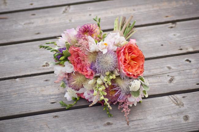 Bouquet on wooden dock