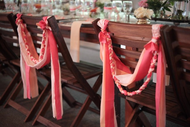 Pink ribbon chair decor