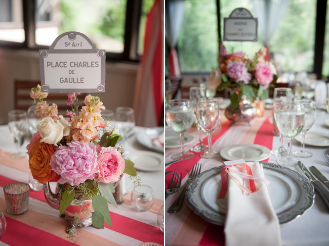 Floral table center piece with french table numbers