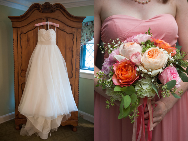 Wedding gown hanging on a waredrobe and prink bridesmaid hold flowers