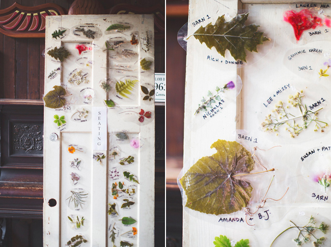 DIY seating chart with scavenged leaves