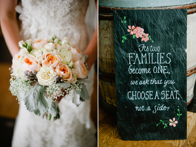 bridal bouquet with peach and cream flowers babys breath
