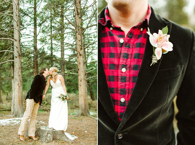 model with checkered red shirt and boutonniere