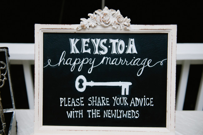 chalkboard sign for sharing advice with newlyweds