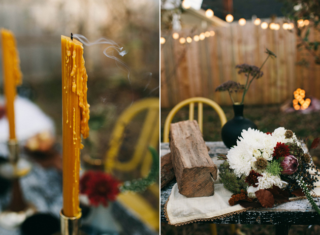 yellow candle with log and bouqet