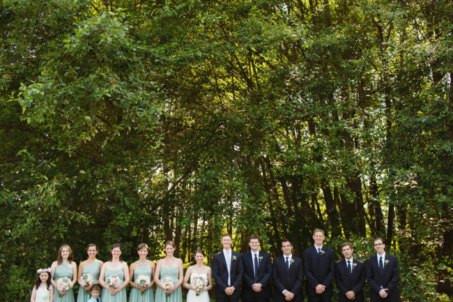 Wedding party lined up - light green bridesmaid dresses