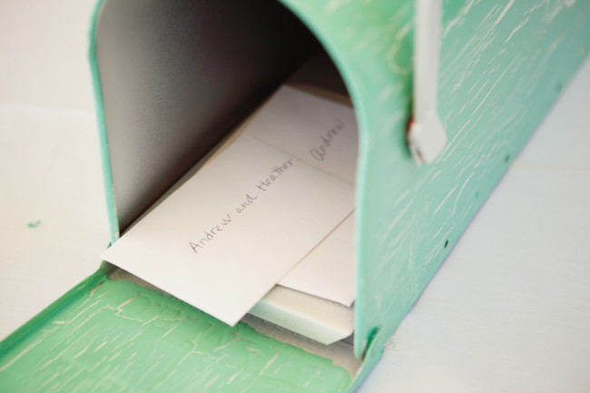 green mailbox for wedding guest book