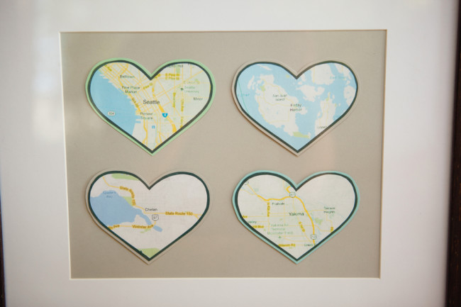 heart shaped maps on a board