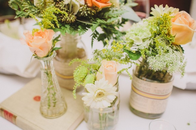 gorgeous library wedding table flowers