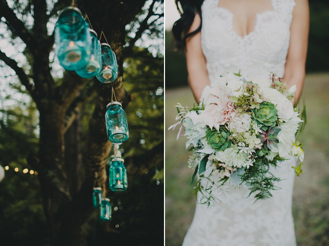 hanging mason jars; bride holding bouquet with succulents