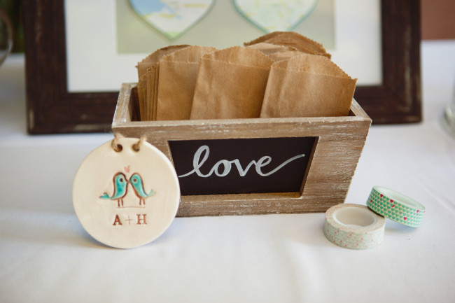 paper bag favors in wood box