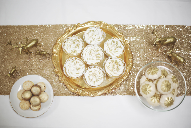 desserts provided by The Cake Zone for gold and white winter styled shoot