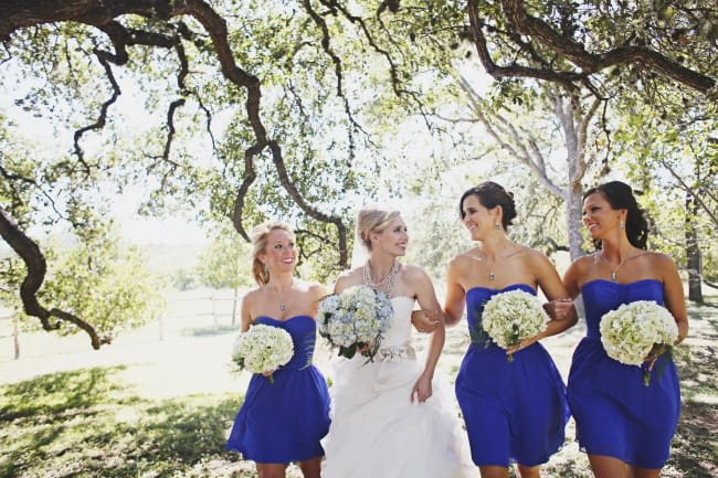 bridesmaids in ultramarine blue dress