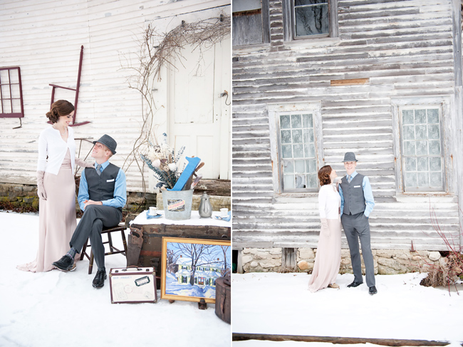 couple on snowy ground for first anniversary shoot in Vermont