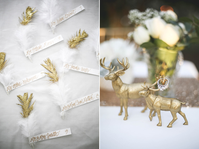 gold stag figurines with wedding ring on antler