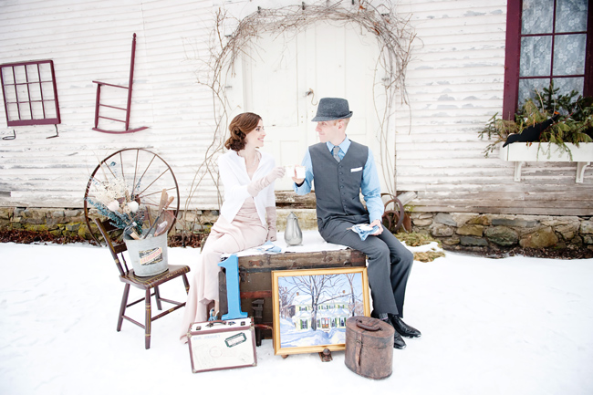 styled couple have tea outdoors at snowy1sts year anniversary shoot