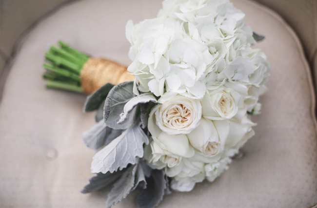 white rose and dusty millar bouquet for winter styled shoot