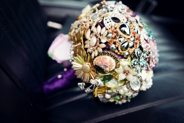 Mini broach wedding bouquet