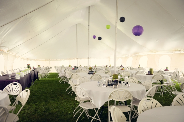 Wedding reception under tent