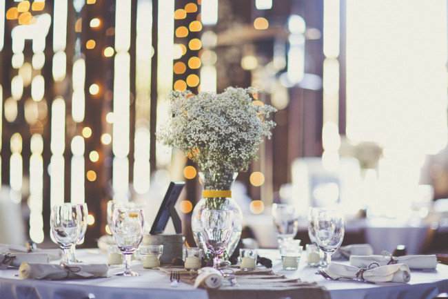baby's breath centerpiece at Dana Powers House reception