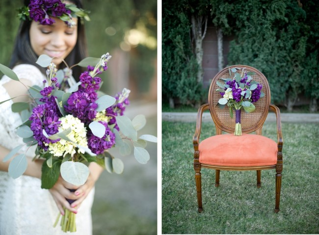 purple flower bouqet rests on vintage chair