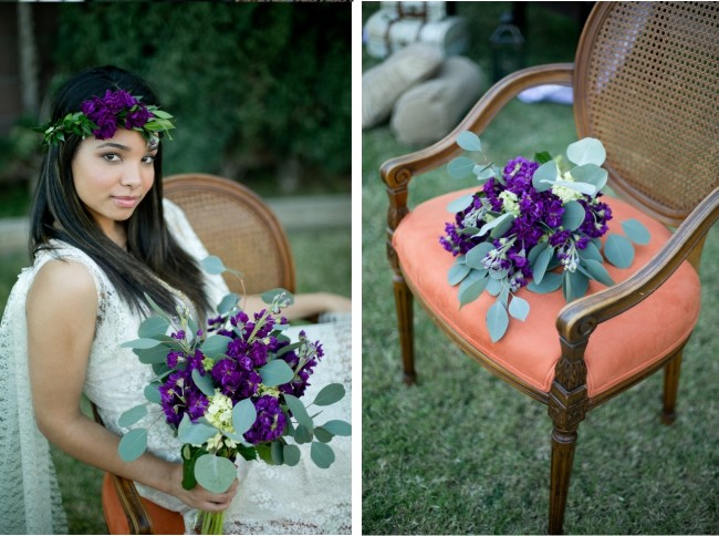 Bohemian inspired styled shoot model dressed in lave white with purple flower crown and bouquet