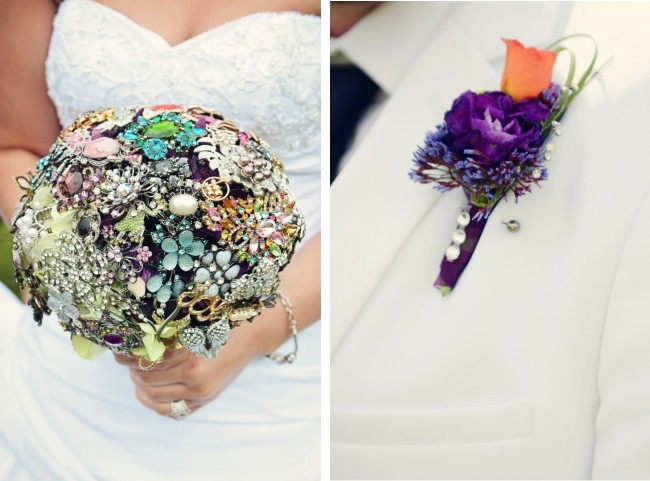 All broach wedding bouquet. Boutonniere with broach
