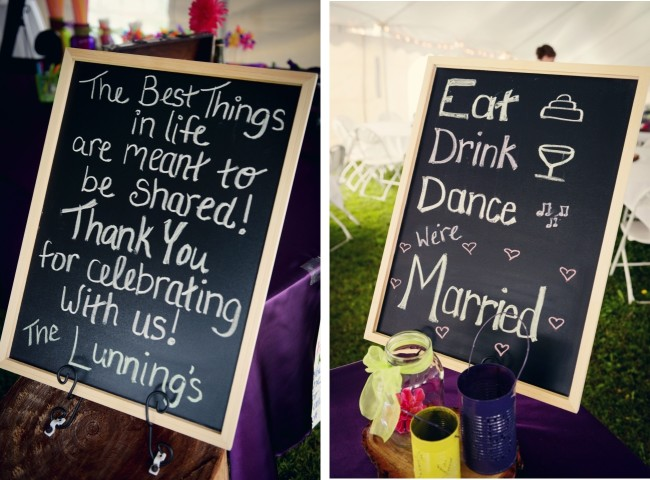"Chalk board signs - ""Eat, Drink, Dance, we're married"""