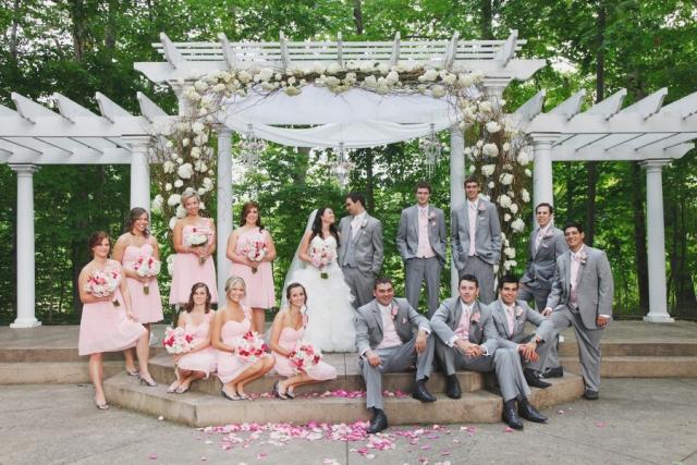 Vintage Romance Wedding bridal party under trellis