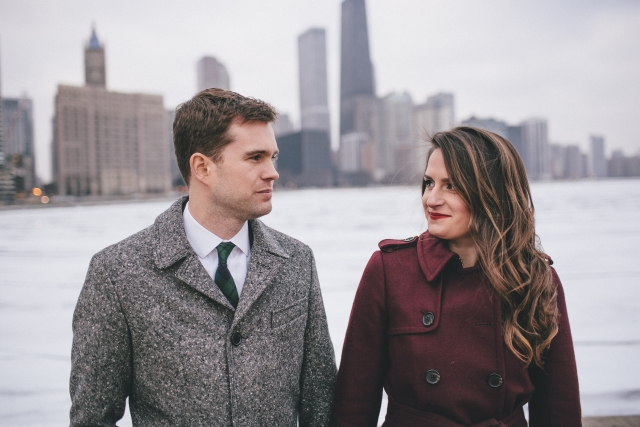 Chicago Cityscape engagement shoot couple closeup photo