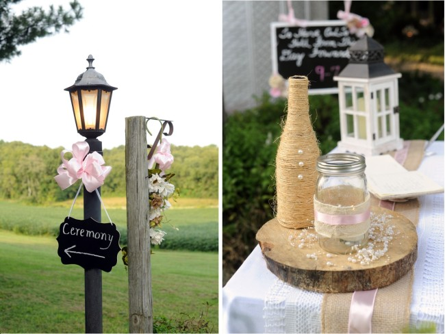 Lamp post and DIY Rustic winery wedding details