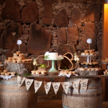 Rustic Dessert Table on Wine Barrels