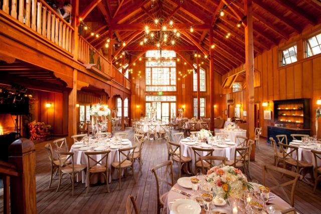 Elegant Fall Wedding Reception Inside Rustic Barn