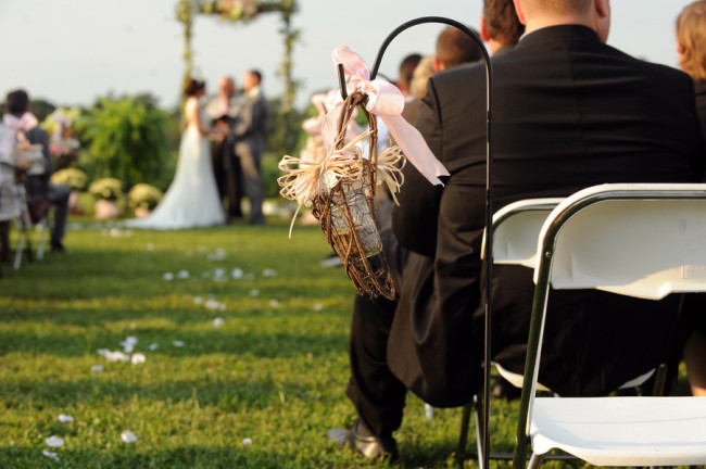 DIY details next to ceremony seating
