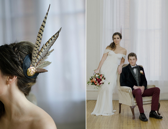 bride with feather fascinator and groom sitting in chair at Keith House