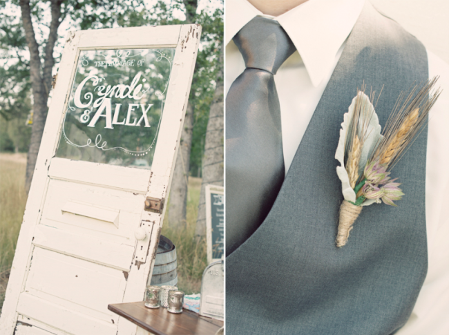 old white wooden door with painted glass that says bride and grooms names. Groom wearing silver necktie and DIY boutonniere