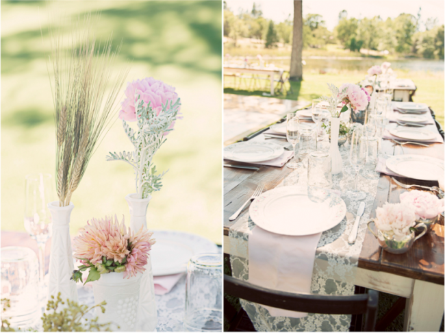 gorgeous soft flowers on outdoor wedding receptionn table at Leaning Tree Lodge