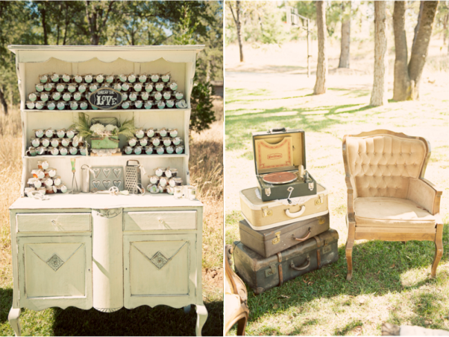 outdoor vintage chic furniture with vintage luggage