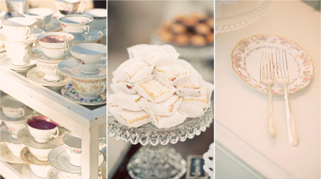 dessert table along with teac cups and saucers for vintage chic wedding