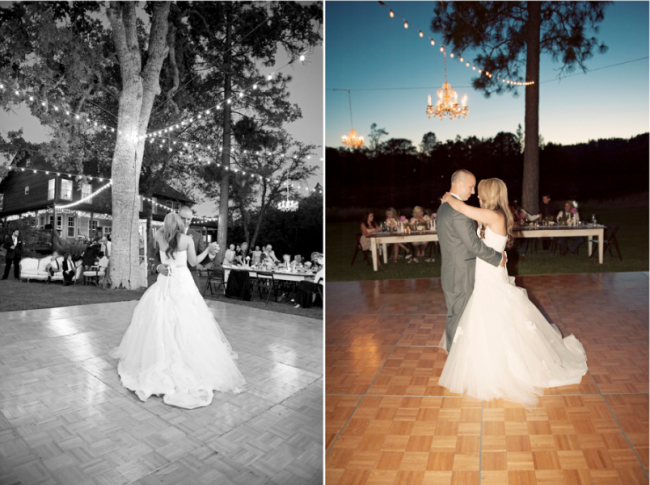 outdoor stage for first dance at Leaning Tree Wedding, Cyndi and Alex