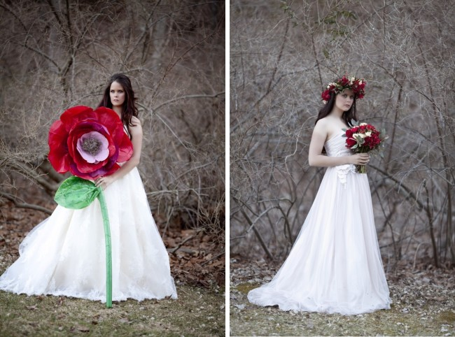 bride holding life size giant red rose; bride with rose bouquet