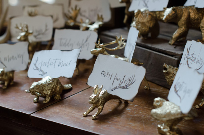 custom woodland name tags in gold animal holders