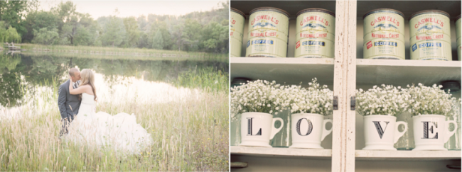 4 mugs that spell the word LOVE